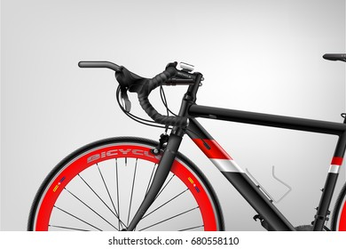 Bicycle. A realistic poster vector. Sport. The black. Red.