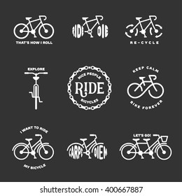 Bicycle related typography set. Motivational quotes about cycling. I want to ride my bicycle. Nice people ride bicycles. Keep calm and bike forever. Bicycle icons. Vector vintage illustration.