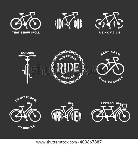 Bicycle Related Typography Set Motivational Quotes Stock Vector