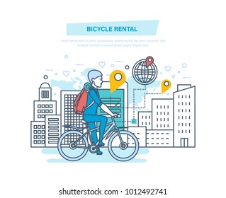 Bicycle rental. City bike hire renting for tourists, city visitors. Young man rides in park by bike. Mobile application for searching and renting of bicycles. Illustration thin line design.