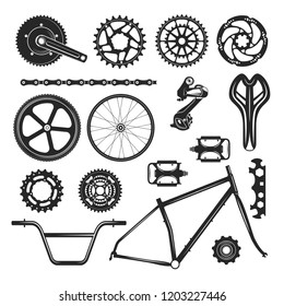 Bicycle repair parts set, vehicle element icon. Bike black accessories design. Vector flat style cartoon illustration isolated on white background