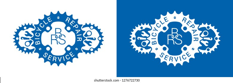 Bicycle repair service logo design with chainring and bike tool silhouettes isolated on white and blue backgrounds.