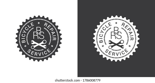Bicycle repair service logo design with chain links, bike tools and text on chainring silhouette isolated on white and dark grey backgrounds.