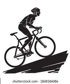 Bicycle Riding Uphill, Outdoor Silhouette