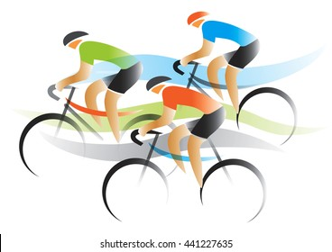 Bicycle Road Racers. Group of racing cyclists.Vector available