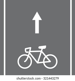 Bicycle road sign and arrow, vector illustration