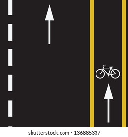Bicycle route sign on the road and arrows pointing direction. Vector illustration.