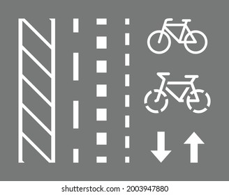 Bicycle route sign, road markings and arrows pointing direction. Vector illustration on grey background