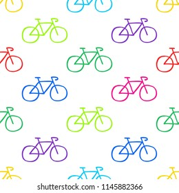 bicycle seamless doodle pattern