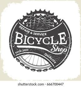 Bicycle service shop logo, monochrome style, vector
