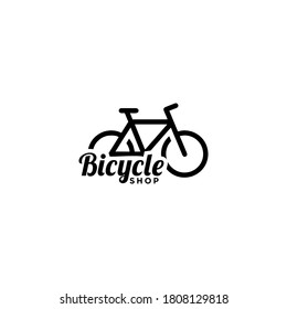 Bicycle shop logo design  vector image,Monoline style logo