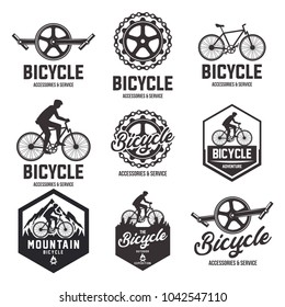Bicycle shop set of vector black emblems, badges and labels isolated on white background. Bike repair service nine logos in vintage style