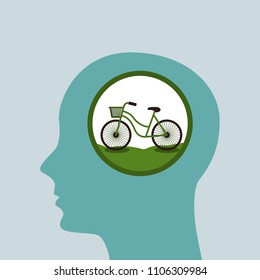 Bicycle sign in brain. Vector illustration