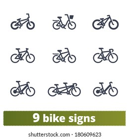 Bicycle signs: vector set of simple bike icons