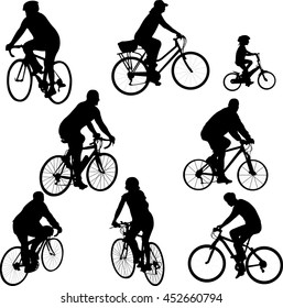 bicycle silhouettes collection vector