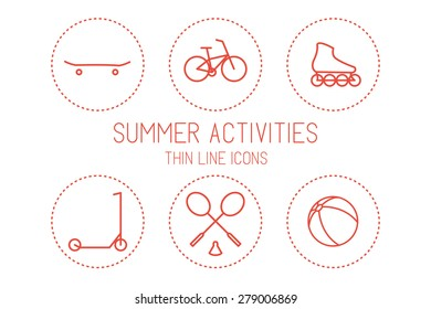 Bicycle, skateboard, roller skate, scooter, badminton, ball - devices for sport and recreation, silhouettes isolated on white background. Vector Illustration EPS10.