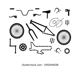 Bicycle spare parts icons signs black  silhouette vector drawing pattern illustration isolated on white background.Print for t shirt.Vinyl wall sticker decal.Design for sports competitions .