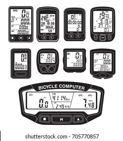 Bicycle Speedometer Computer Odometer Bike Vector illustration Digital LCD