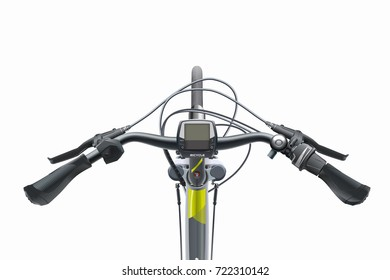Bicycle sports steering wheel. View from above. Realistic vector. Mountain bike for city and mountain riding. Bicycle handlebar with brakes, cables, sensors.