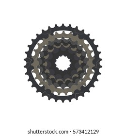 Bicycle sprocket on the white background, vector
