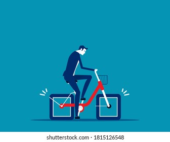 Bicycle square wheels. Effort business concept. Flat business cartoon style