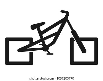Bicycle with square wheels. Icon.