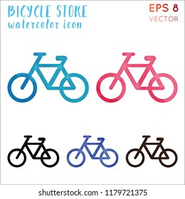 Bicycle store watercolor symbol. Actual hand drawn style symbol. Bizarre painting. Modern design for infographics or presentation.