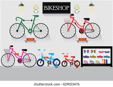 Bicycle stores or bike shops with many size bicycle hanger on brick wall background and equipment, interior shop vector illustration.