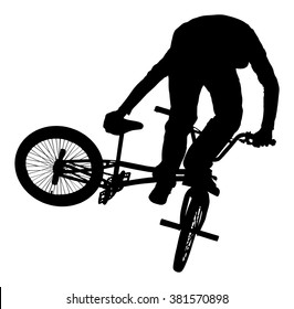 Bicycle stunts vector silhouette isolated on white background. Bike performer. exercising bmx acrobatic figure. Complicate trick, street artist riding bicycle on unusual way. Circus event scene.