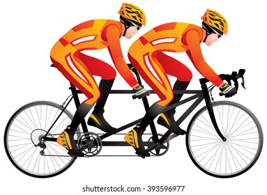 Bicycle tandem racer realistic color vector illustration, cycle race derby sport series