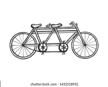 Bicycle tandem sketch engraving vector illustration. Scratch board style imitation. Black and white hand drawn image.
