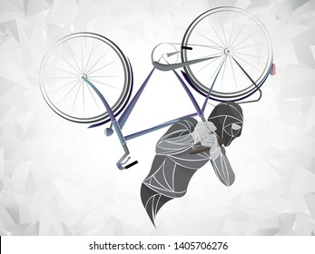 bicycle thieves. the burglar bike. Thief stealing a bike vector