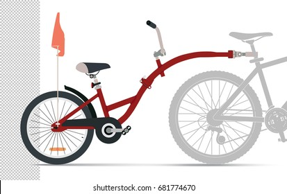 Bicycle trailer for a child. Red Attachment