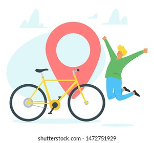 Bicycle travel, tourism vector illustration. Joyful bike buyer jumping cartoon character. Excited young man buying personal transport, happy purchase. Cycling hobby, city travel, urban journey