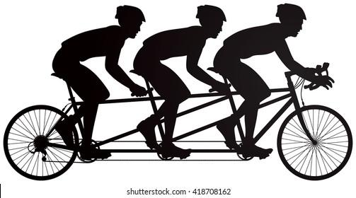 Bicycle triples or triplets tandem racers vector silhouette, cycle race derby sport series
