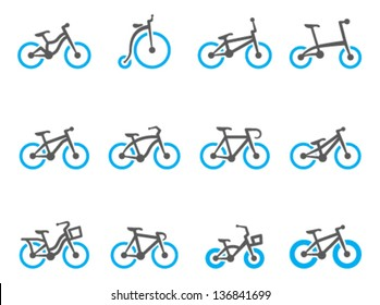 Bicycle type icons in duo tone colors
