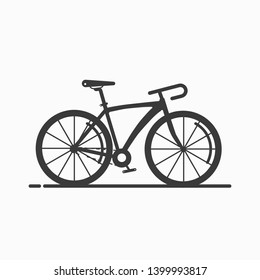 Bicycle variations flat black version. Fixie gear bicycle