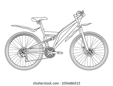 Bicycle vector contour drawing, monochrome, black and white sketch, silhouette, coloring book. Outline picture bike half-face with many multiple details isolated on white background