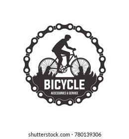 Bicycle vector label design set bike shop and service logotypes for your design