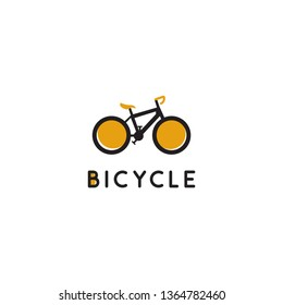the bicycle vector logo, with the shape of a yellow and black bicycle and on the yellow bicycle writing on the letter B in the form of a small circle. abstract, modern, minimalist, unique
