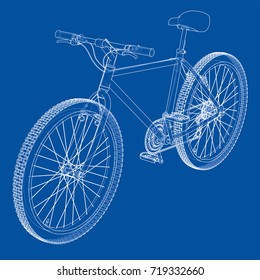 Bicycle. Vector rendering of 3d. Wire-frame style. The layers of visible and invisible lines are separated.