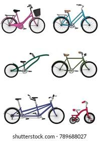 bicycle vector set