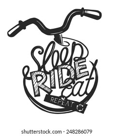 Bicycle vintage lettering for ride lovers.