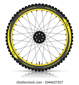 Bicycle wheel with a best sports tire on white background. Bike icon. Vector illustration.