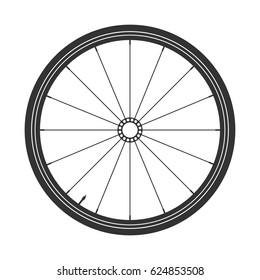 Bicycle wheel black symbol,vector. Bike rubber. Mountain tyre. Valve. Fitness cycle.MTB. Mountainbike.