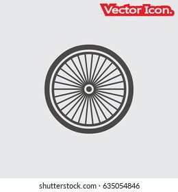 bicycle wheel. Icon isolated sign symbol and flat style for app, web and digital design. Vector illustration.