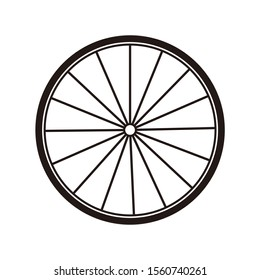 Bicycle wheel icon template color editable. Bicycle wheel symbol vector sign isolated on white background. Simple logo vector illustration for graphic and web design.