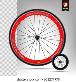 Bicycle wheel. Realistic vector. Mountain wheel. Small wheel. Vector