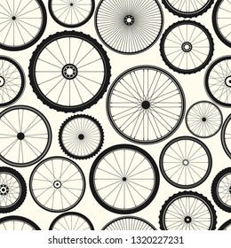 Bicycle wheel seamless pattern. Bike rubber mountain tyre, valve. Fitness cycle, mtb, mountainbike. Vector illustration.