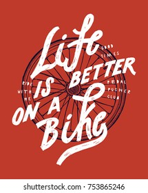 bicycle wheel shirt. Life is better on a bike. Stylish tee print